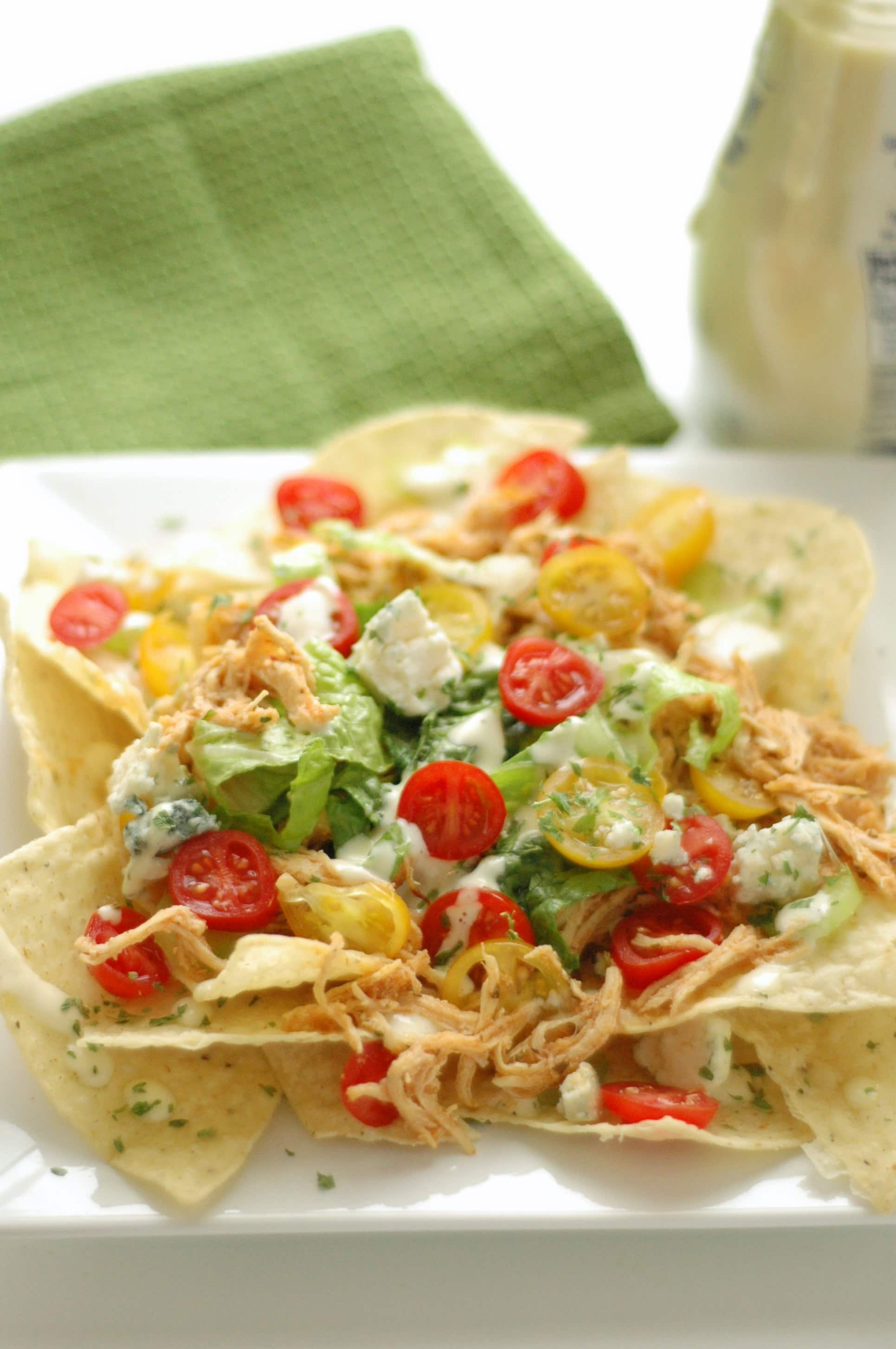 Crockpot Buffalo Chicken Nachos