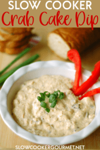 Add this recipe to your list of favorite appetizers! This Slow Cooker Crab Cake Dip will give you the taste of this Maryland classic in dip form! #crabdip #crabcakes