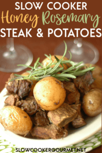This is one of your new go-to recipes for date night!  Slow Cooker Honey Rosemary Steak and Potatoes an easy and tasty meal to make up for your sweetie or family.  #slowcooker #steakandpotatoes