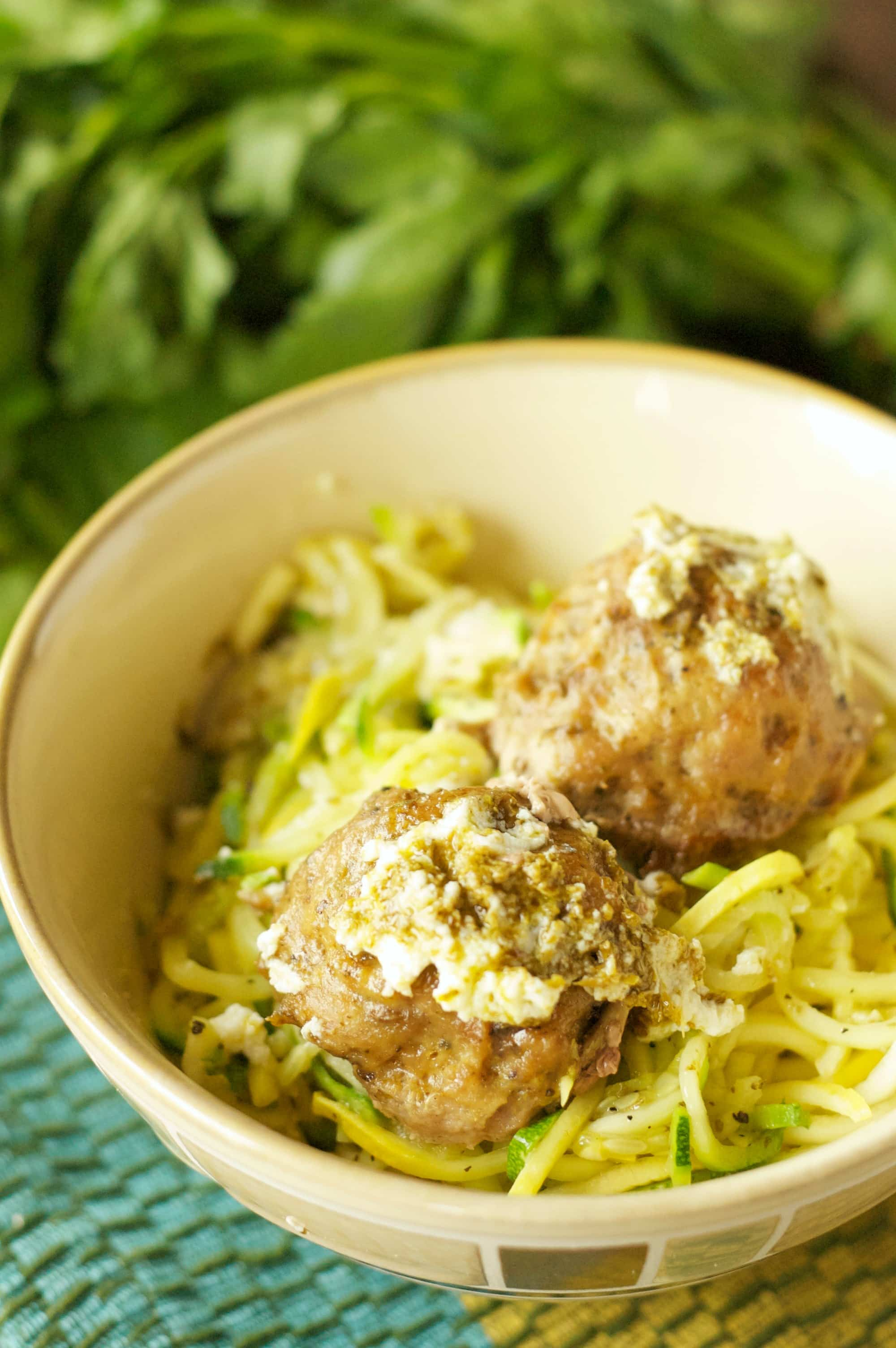 Crockpot Herbed Turkey Meatballs with Zucchini, Ricotta and Pesto ...