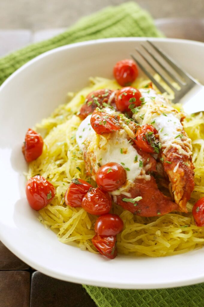 Slow Cooker Chicken Parmesan With Spaghetti Squash And Balsamic Roasted Tomatoes Slow Cooker