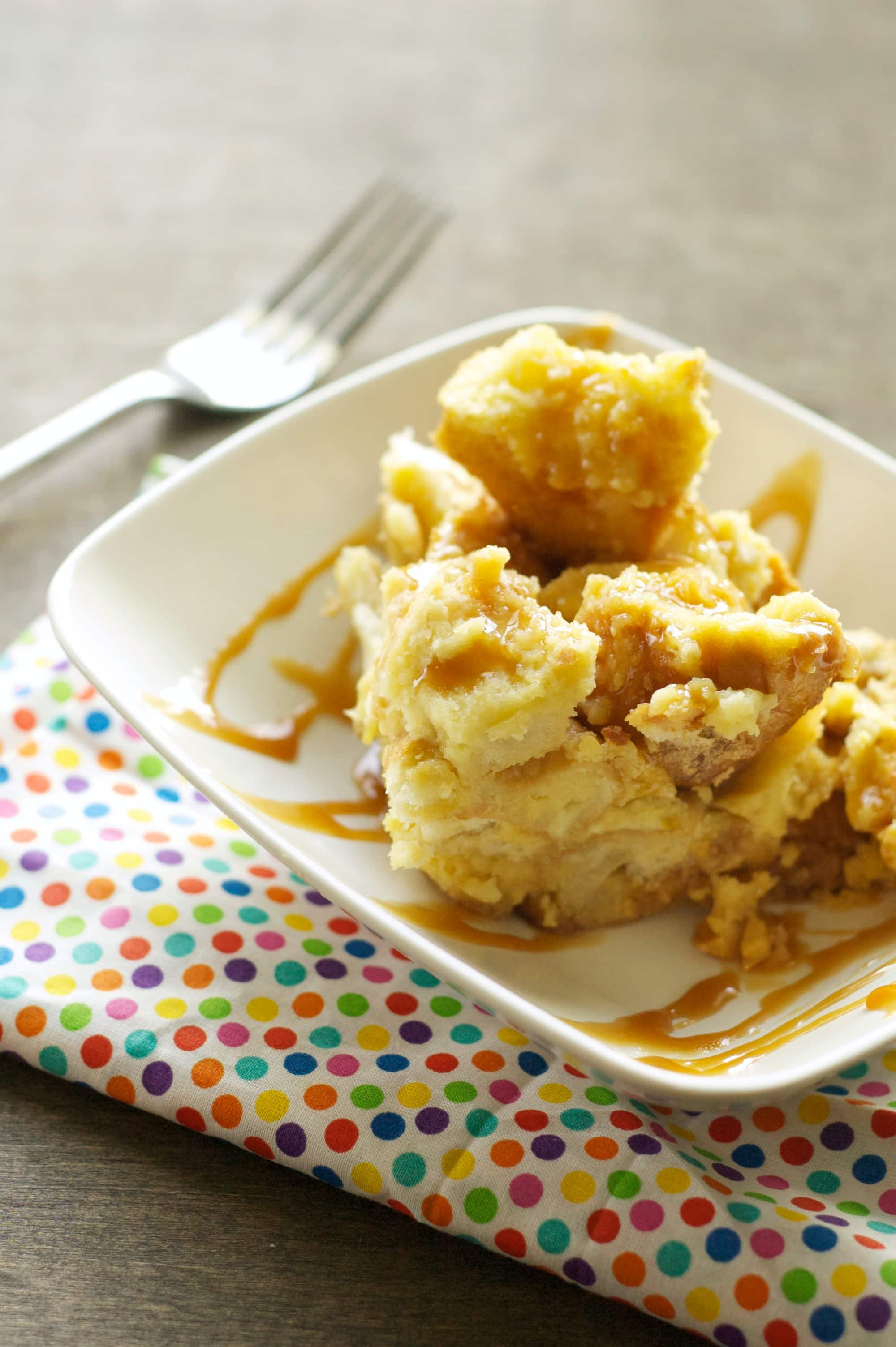 Slow Cooker Bread Pudding with Salted Caramel Sauce