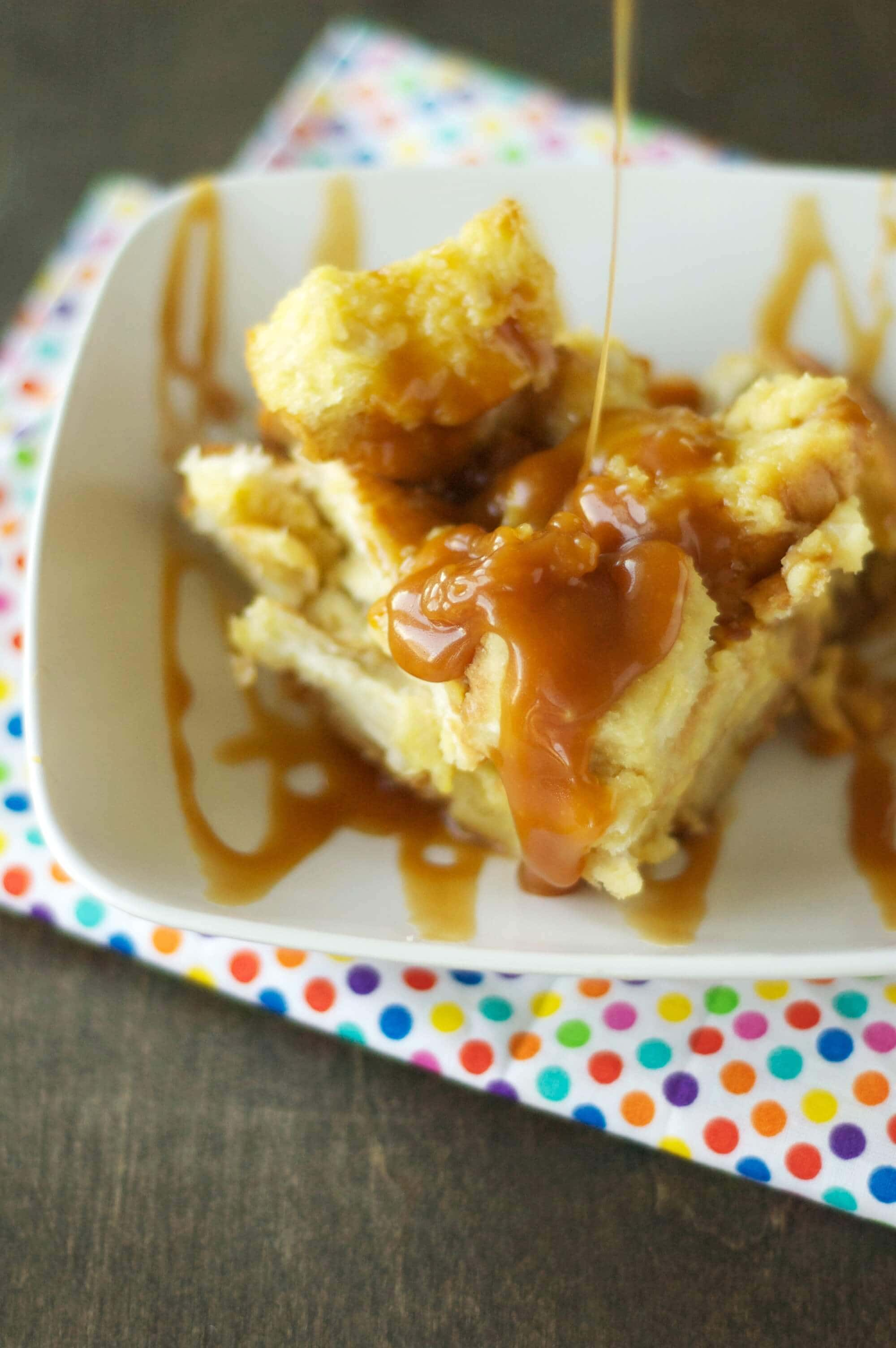 Crockpot Bread Pudding with Salted Caramel Sauce