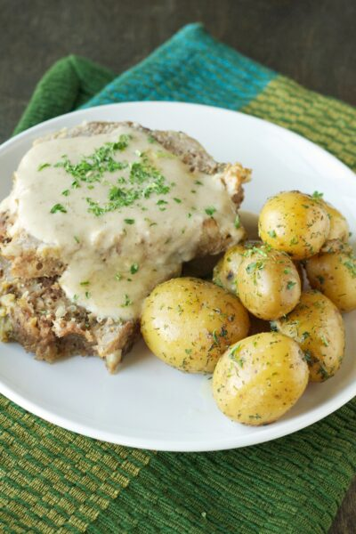 Slow Cooker Creamy Meatloaf with Baby Dill Potatoes