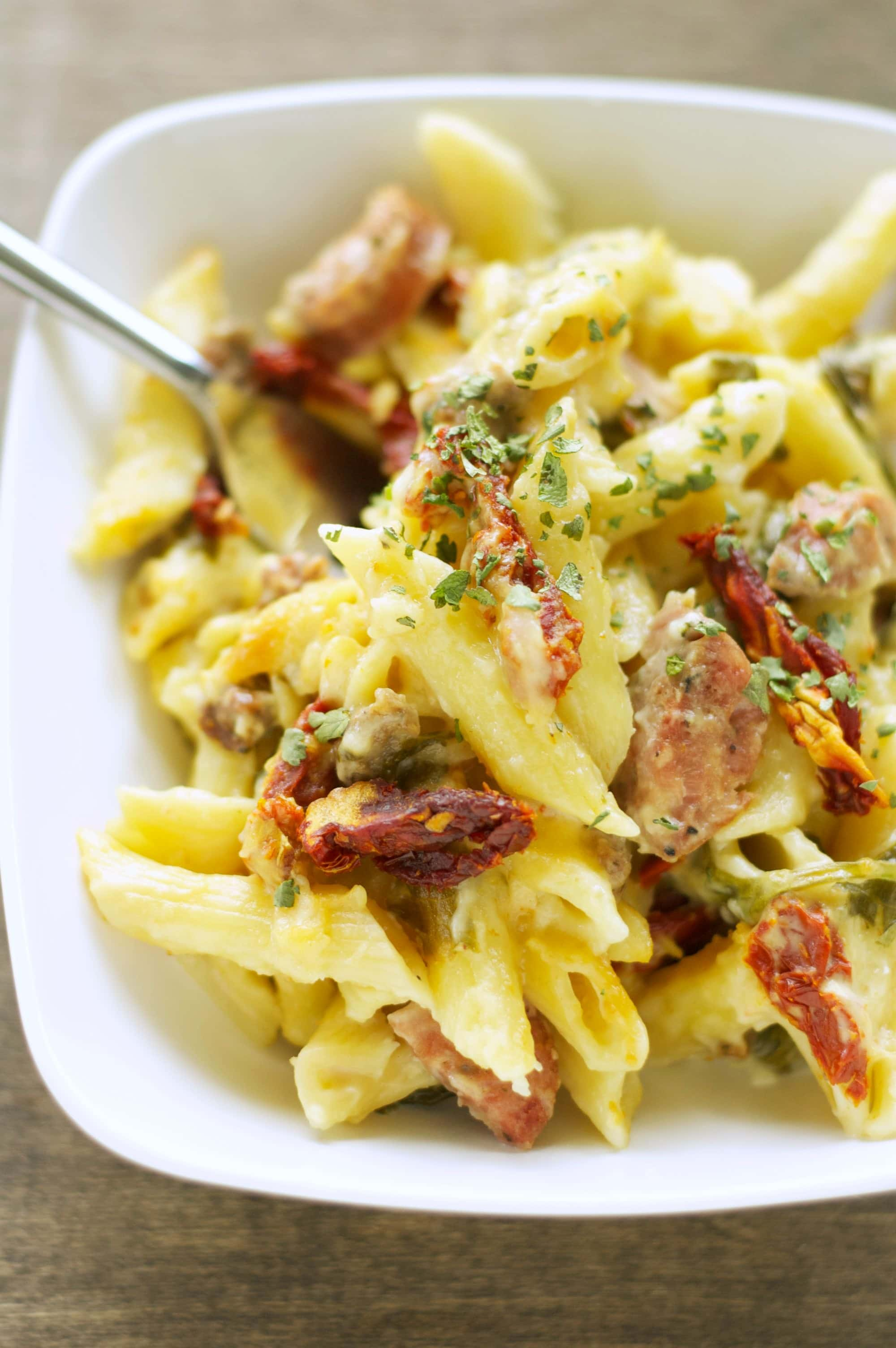 Crockpot Sausage Penne Bake with Sun-Dried Tomatoes and ...