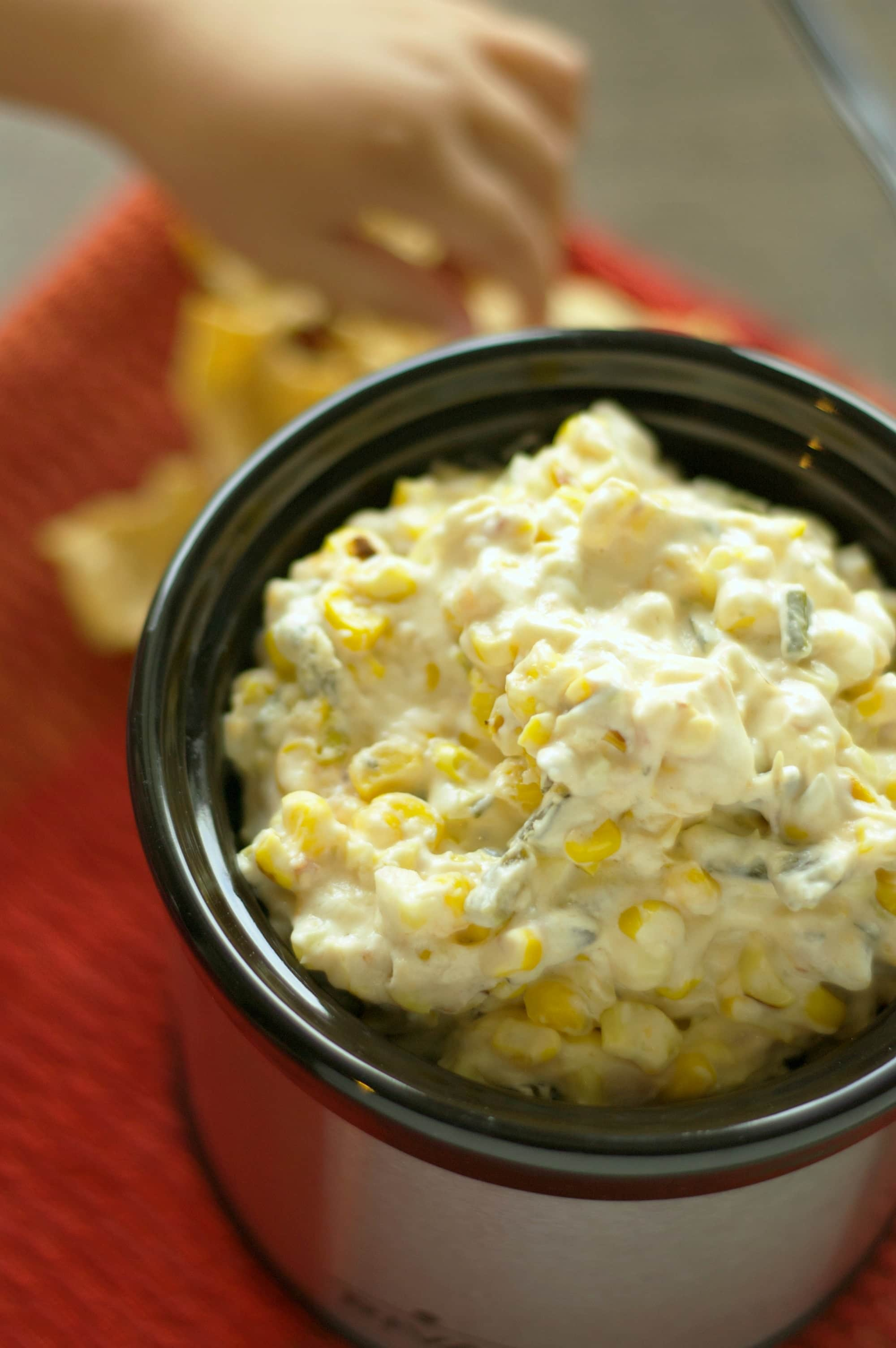 Crockpot Roasted Corn and Poblano Dip with Bacon