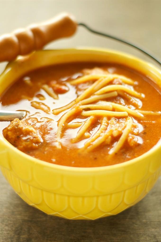 Crockpot Spaghetti and Meatball Soup