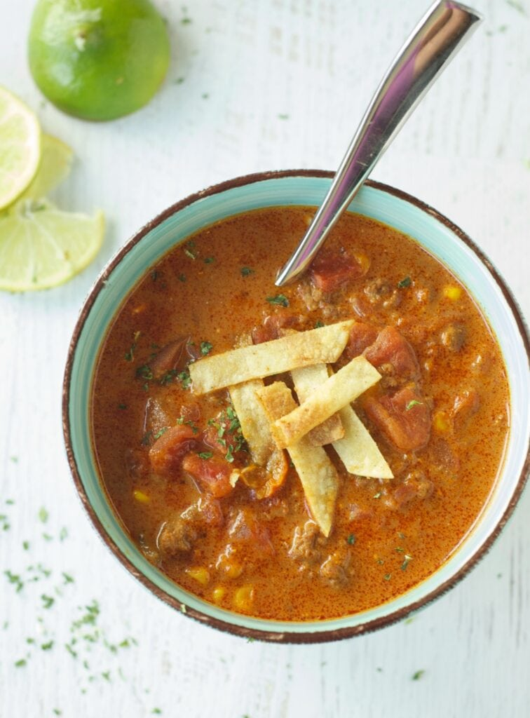 Slow Cooker Beef Enchilada Soup