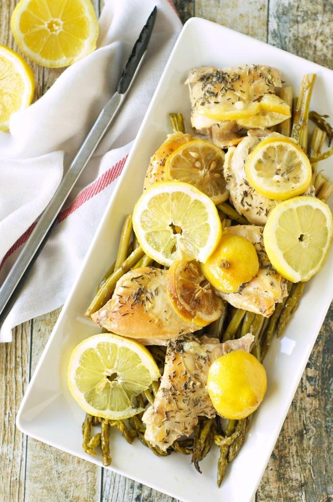 Slow Cooker Lemon Pepper Chicken and Asparagus