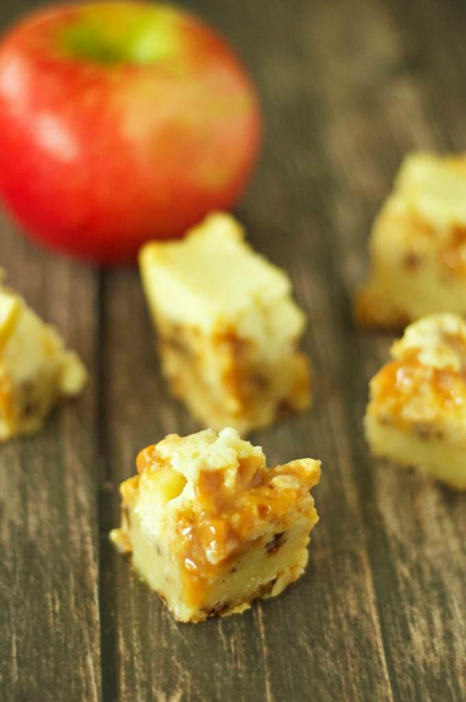 Slow Cooker Caramel Apple Cheesecake Bites
