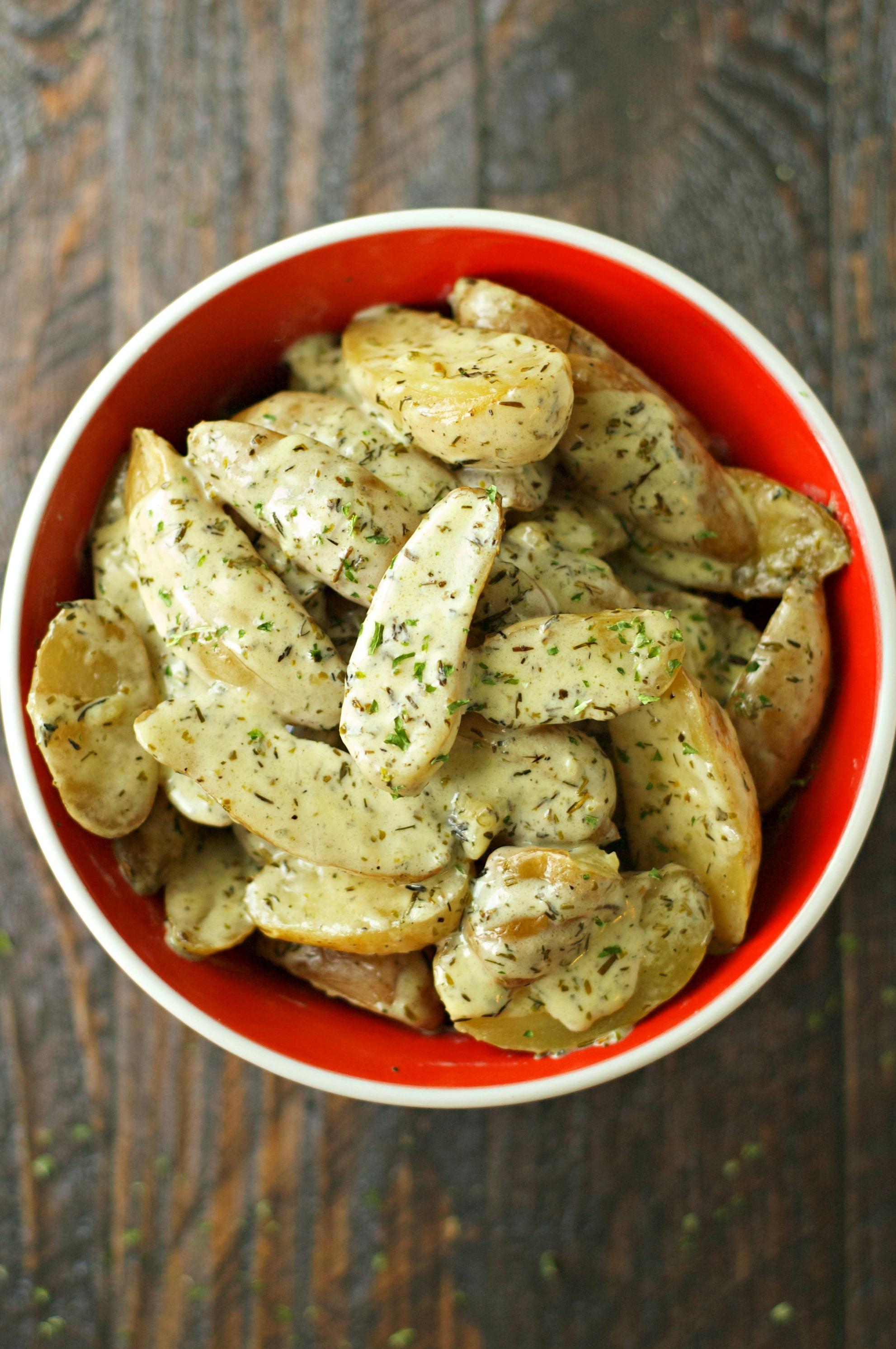 Crockpot Creamy Herbed Fingerling Potatoes