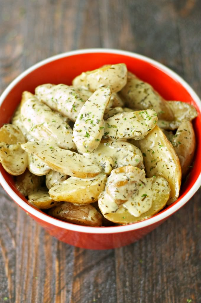 Crockpot Creamy Herbed Fingerling Potatoes | Crockpot Gourmet
