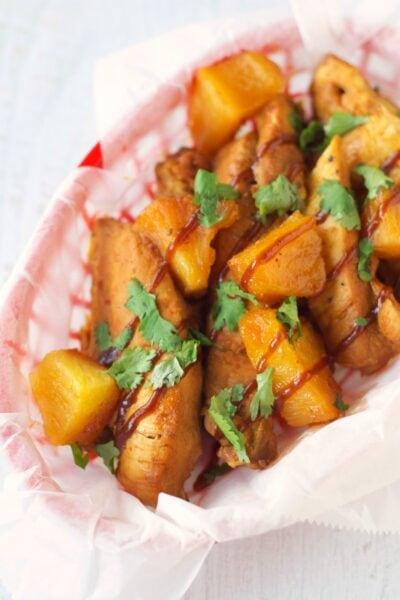 Slow Cooker Pineapple BBQ Chicken Tenders