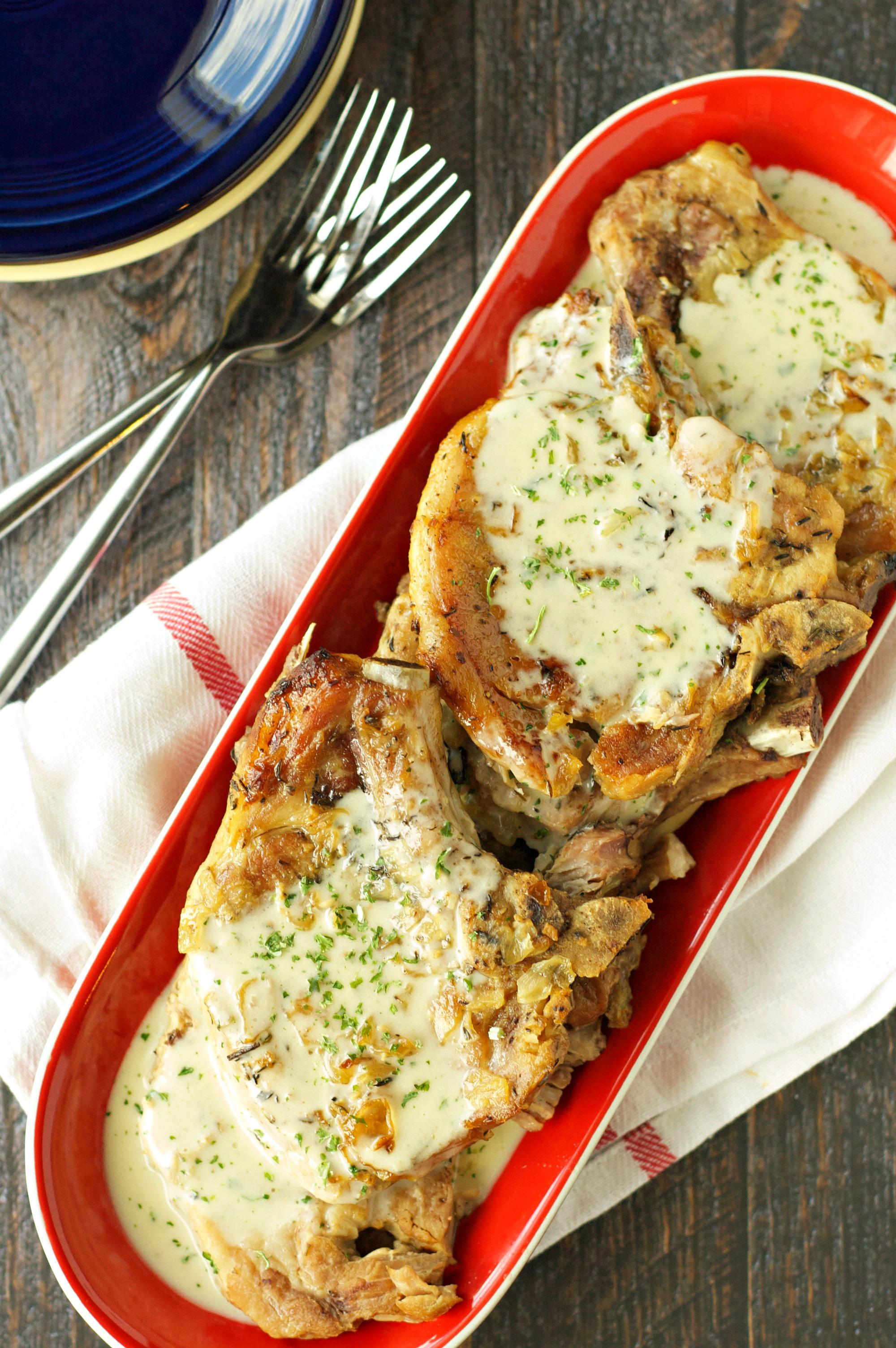 Crockpot Pork Chops With Creamy Herb Sauce