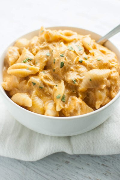 Slow Cooker Buffalo Chicken Mac and Cheese in a white bowl