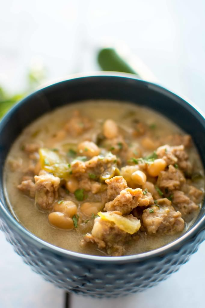 Slow Cooker Cheesy Green Chili