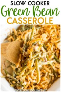 Green Bean Casserole is one of the quintessential Thanksgiving sides with many families!  But whether you're looking for a side dish for the holidays or a recipe to go with your weeknight dinner, this Slow Cooker Green Bean Casserole is an easy and creamy dish you can enjoy any night of the year! #slowcookergourmet #slowcooker #greenbeancasserole #greenbeans #thanksgivingdinner #thanksgivingsides