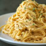 Crockpot Cheesy Buffalo Chicken Pasta