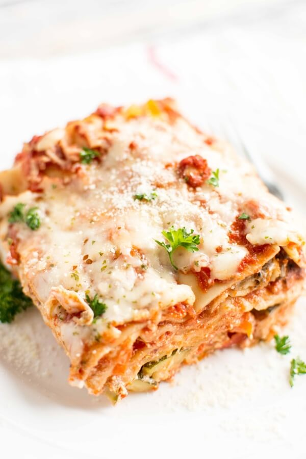 Slow Cooker Veggie Lasagna served on a white plate.