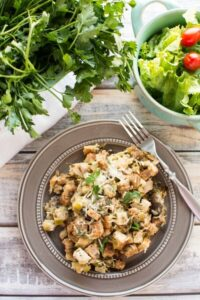 Crockpot Fresh Herb Chicken Mushroom Leek Casserole