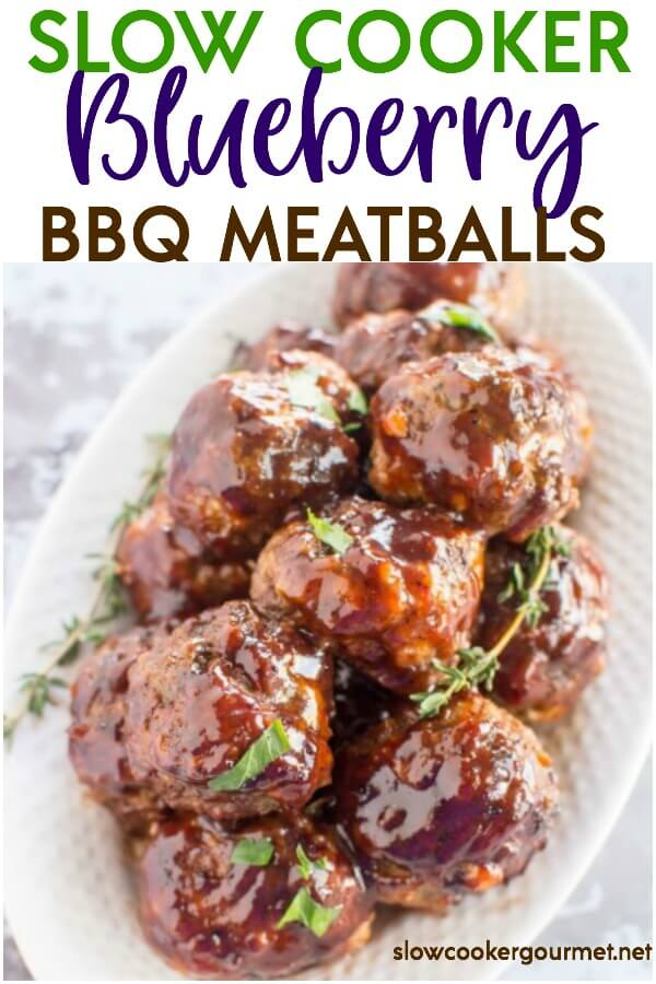 Need a weeknight meal idea? What about an appetizer for your next get-together? Either way, do yourself a favor and try these Slow Cooker Blueberry BBQ Meatballs! Use the help of your slow cooker and with a little bit of prep work these easy and delicious slow cooker meatballs will be ready in no time at all!#slowcookergourmet #slowcooker #bbq #meatballs #groundbeef #groundpork