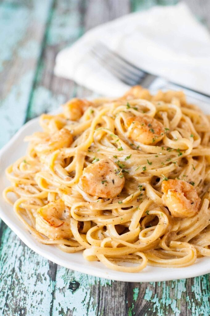Cajun Shrimp Pasta on a white plate