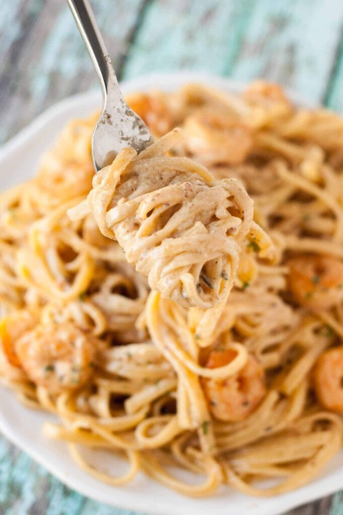 forkful of Cajun Shrimp Pasta