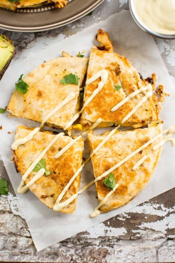 Southwest Chicken Quesadillas With Avocado Ranch Slow Cooker Gourmet