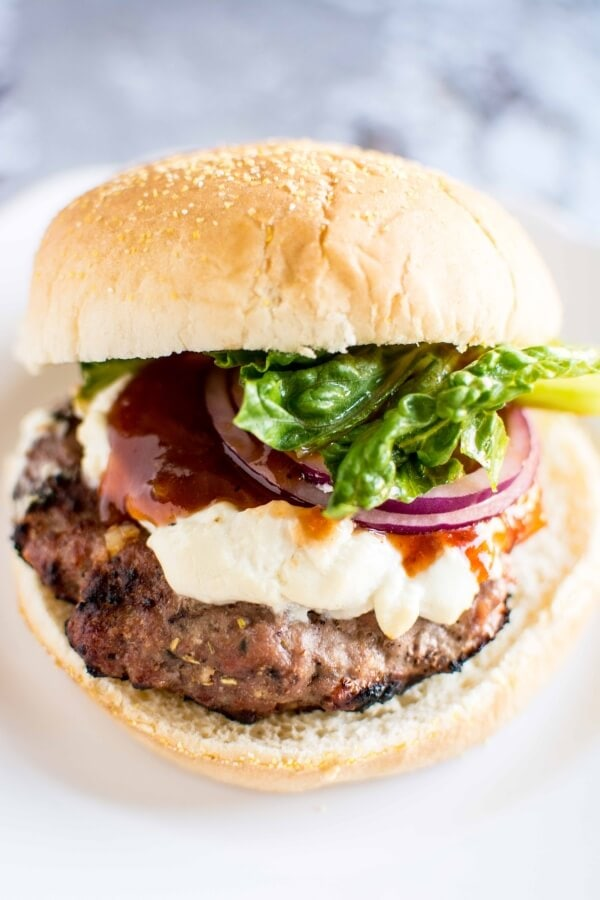Turkey Burgers with Peach and Goat Cheese