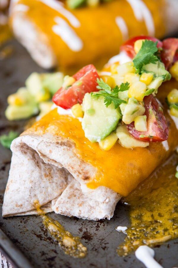 Slow Cooker Healthier Chicken Burritos