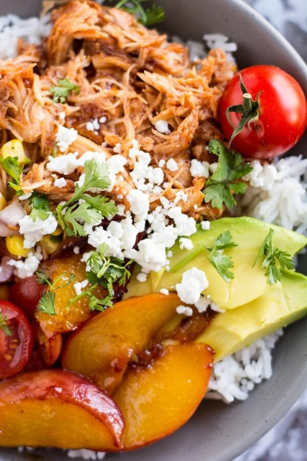 Slow Cooker Jalapeno Peach Chicken Bowls