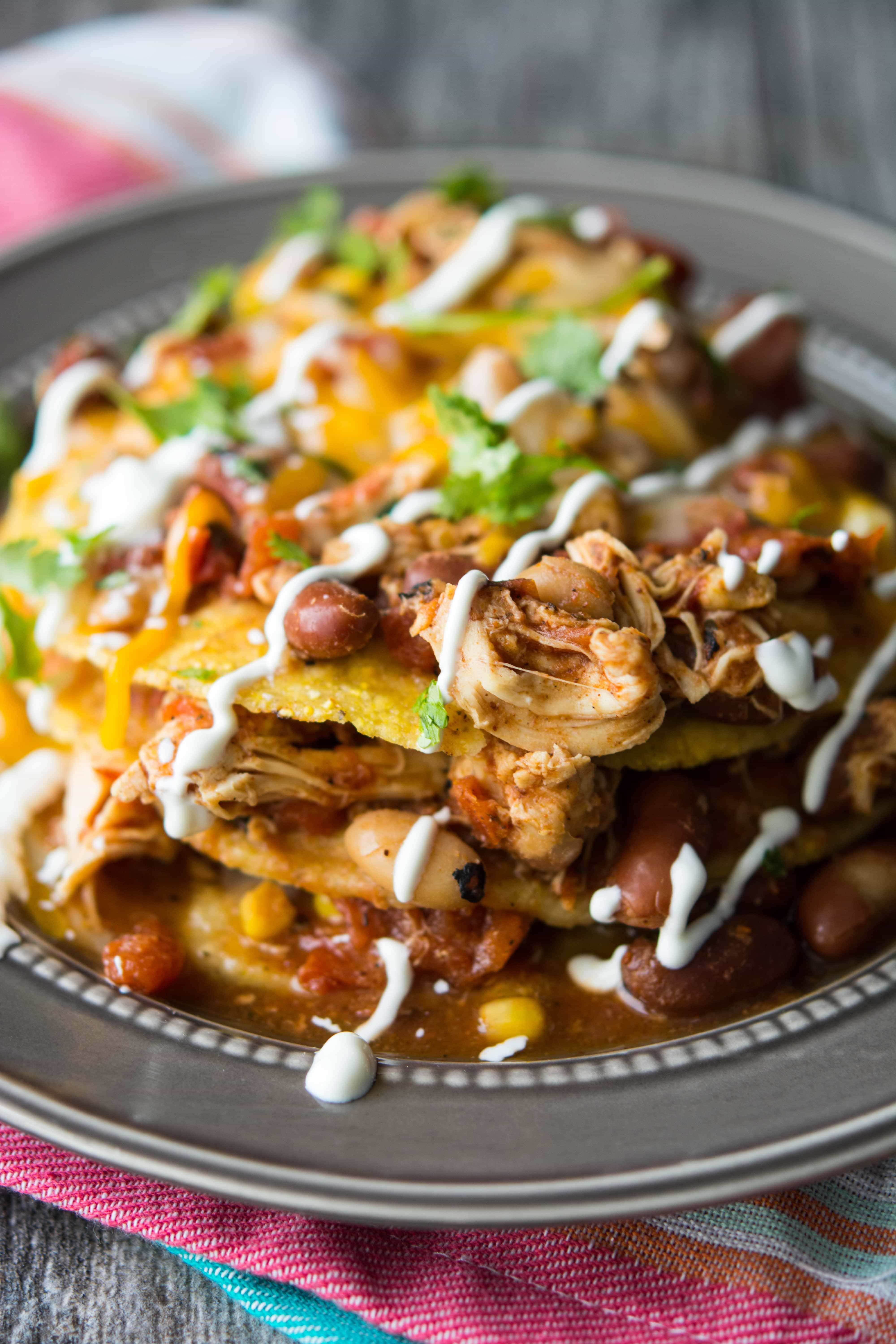 Slow Cooker Mexican Chili Tostada Stacks Slow Cooker Gourmet