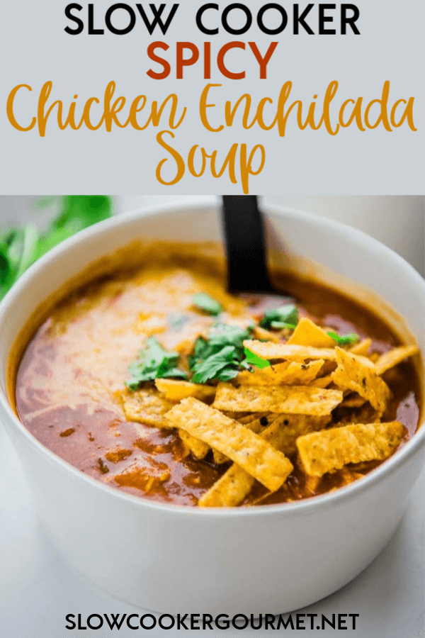 Isn't is funny how sometimes the simplest recipes that come from ingredients you already have on hand can actually become family favorites? This Slow Cooker Spicy Chicken Enchilada Soup is one of those recipes sure to become a staple in your house! #slowcooker #enchiladasoup