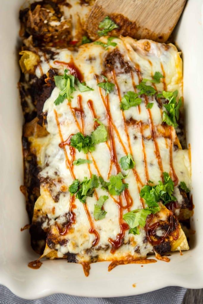 Slow Cooker BBQ Pulled Pork Enchiladas