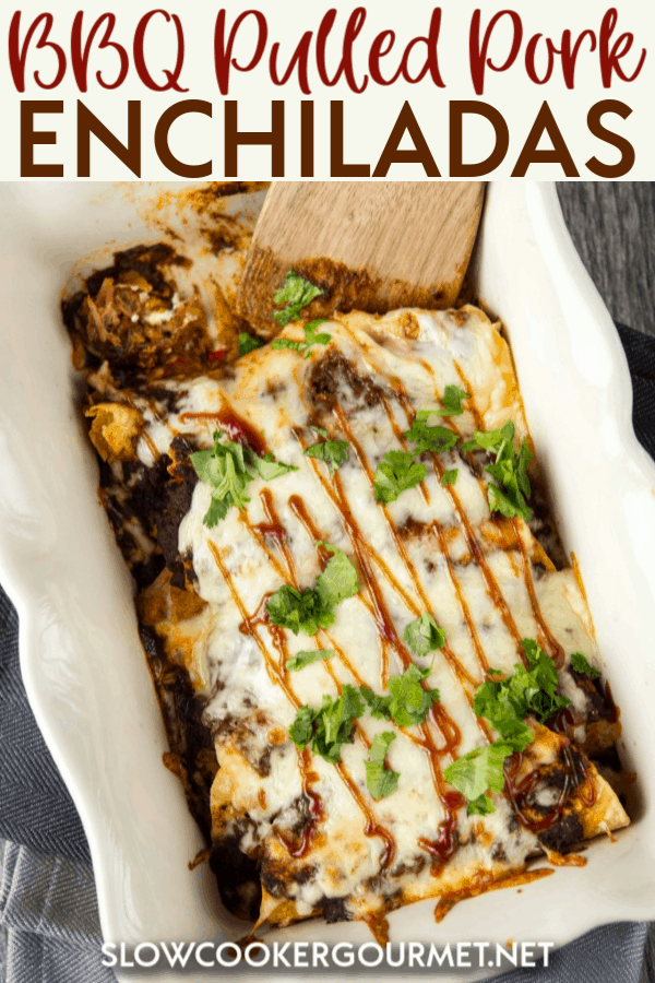 BBQ Pulled Pork Enchiladas are the most delicious and easy way to use up leftover meat from your Slow Cooker to create the best enchiladas which are the epitome of comfort food! Creamy, cheesy and tasty these enchiladas will be one of the new favorite meals for so many families! #bbqpulledpork #pulledpork #enchiladas