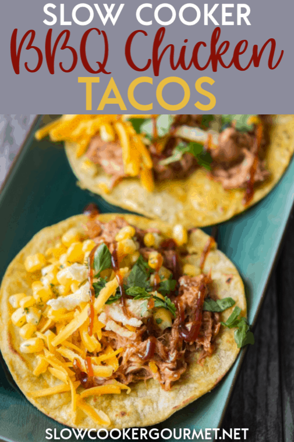 This recipe for Slow Cooker BBQ Chicken Tacos is an easy and fun way to mix up Taco Night!  Shredded BBQ Chicken with corn, lime juice and more gets added to corn tortillas and topped with fried onions for a unique and delicious taco experience! #slowcooker #bbqchicken #chickentacos