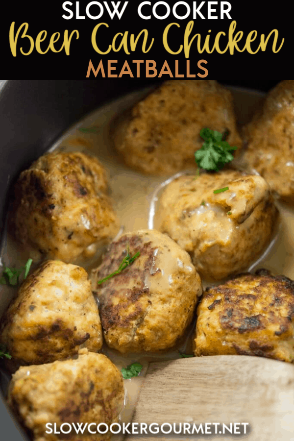 Forget a hot and messy grill. Make your own version of spicy beer can chicken in your slow cooker instead with this simple and easy meatballs! #slowcooker #beercanchicken #meatballs
