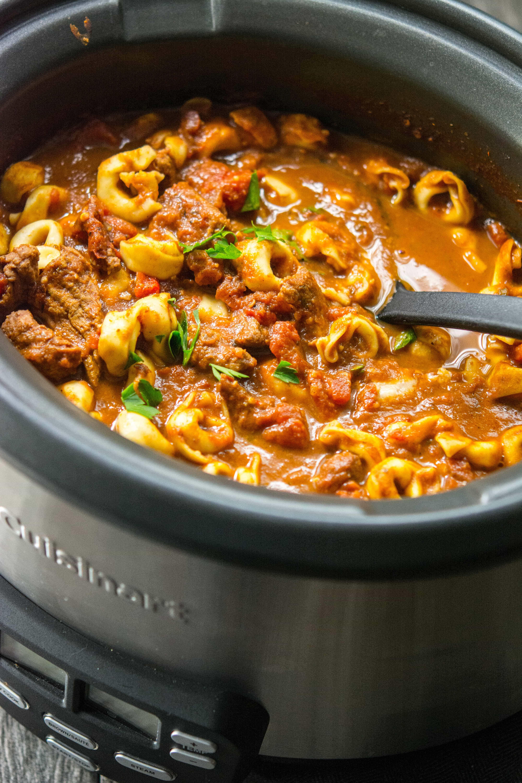 Slow Cooker Spicy Beef Tortellini Soup