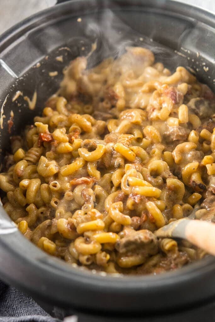 Piping hot Slow Cooker Beer Mac & Cheese in the slow cooker