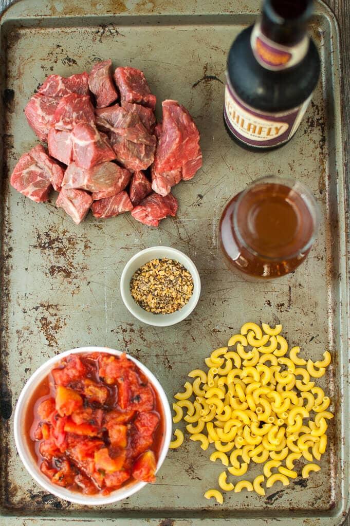 Overhead photo of ingredients to make Slow Cooker Beer Mac & Cheese