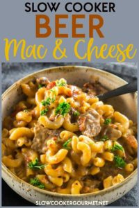 Slow Cooker Mac and Cheese is amazing on it's own, but when you add your favorite beer you end up with a grown-up comfort food you'll want to make again and again. #slowcookergourmet #slowcooker #beer #macandcheese #beef #stoutbeer