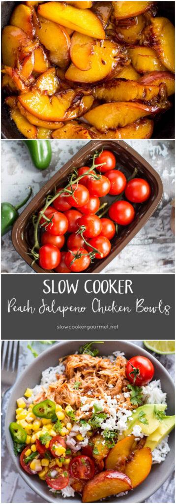 Slow Cooker Peach Jalapeño Bowls