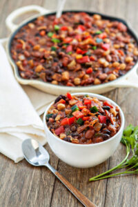 Slow Cooker Baked Bean Trio with Bacon & Peppers