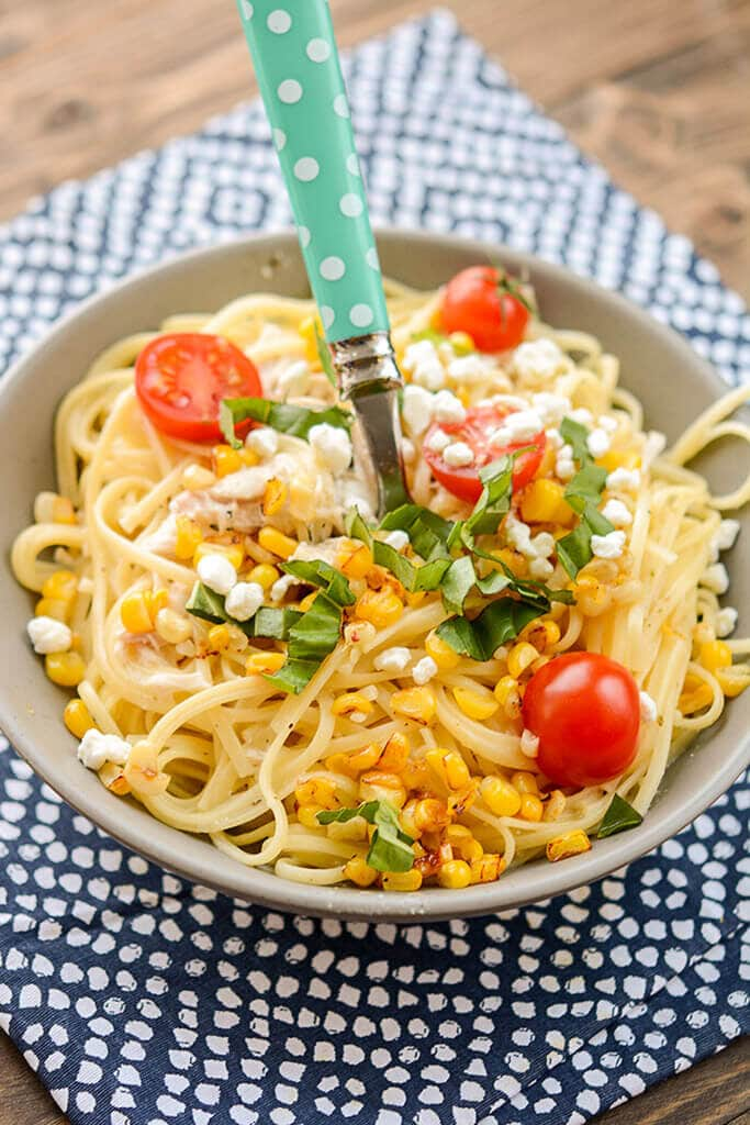If you want an amazingly simple dinner with tons of fresh flavor right from your slow cooker, look no further than this Slow Cooker Chicken Pasta with Corn and Goat Cheese.