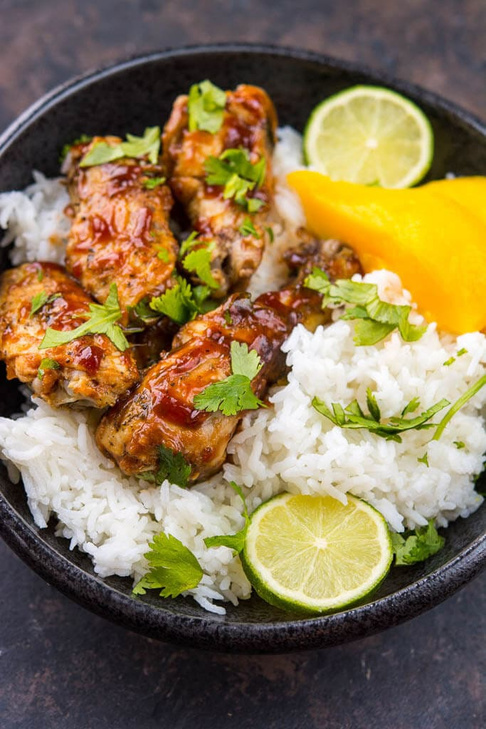 Crock-Pot Mango BBQ Chicken Bowls