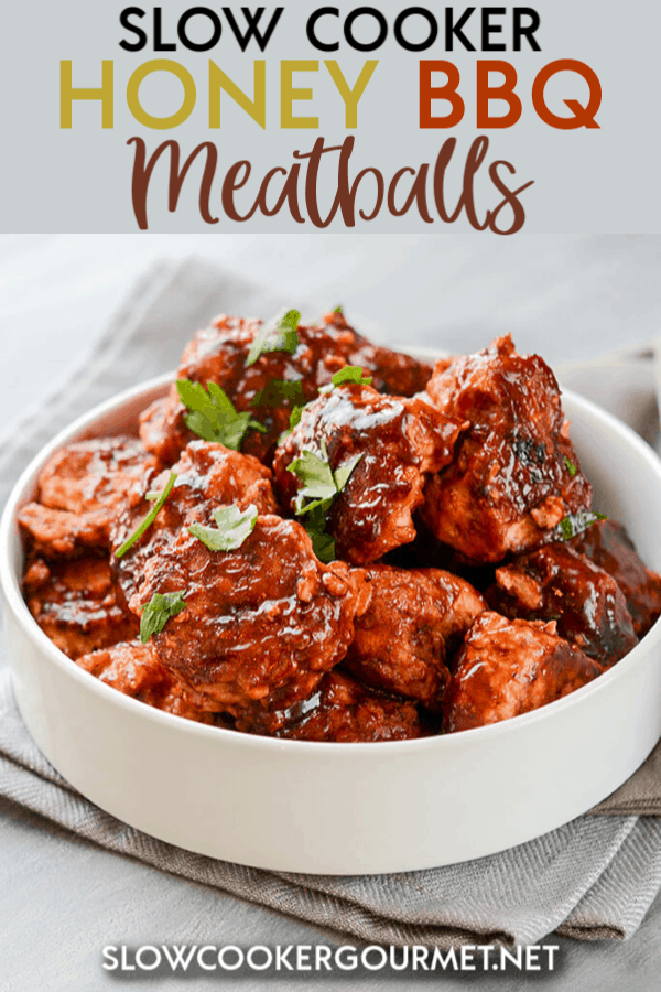 If you're on the hunt for a new BBQ recipe but you need it to be super simple, then this just might be the one for you! Use your favorite barbecue sauce to make these Slow Cooker Honey BBQ Meatballs any night this week! #slowcooker #honeybbq #meatballs