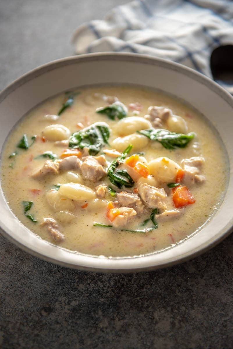 chicken and gnocchi soup in bowl