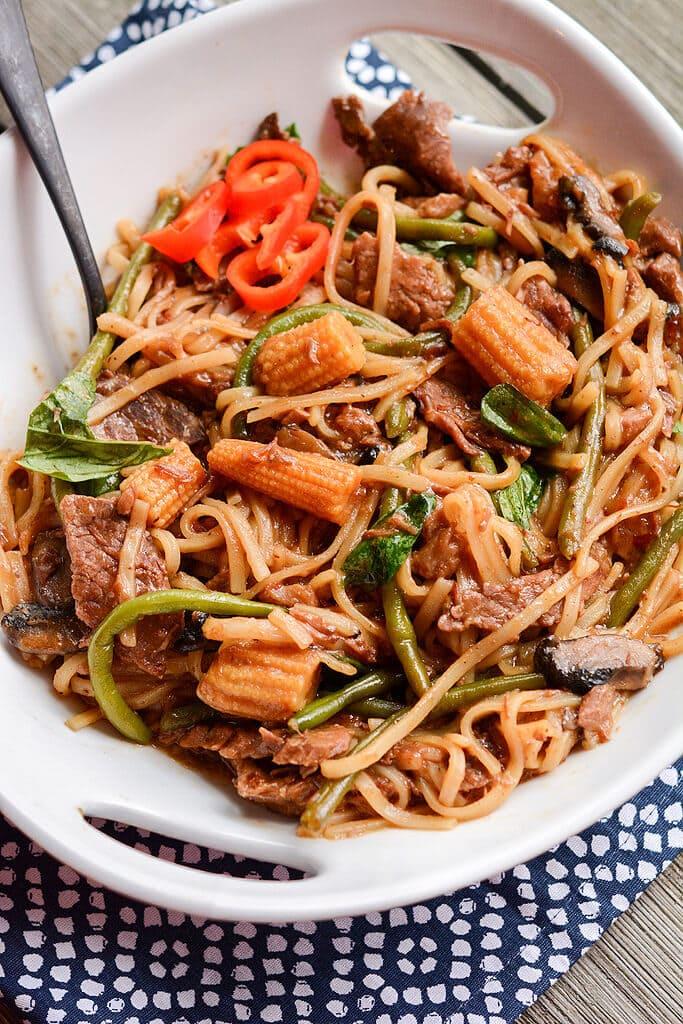 Slow Cooker Drunken Beef Noodles