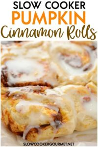 It's easier than you think to make homemade cinnamon rolls. These Slow Cooker Pumpkin Cinnamon Rolls are delicious fresh right out of the slow cooker! #slowcookergourmet #slowcooker #pumpkin #cinnamonrolls #fallfoods