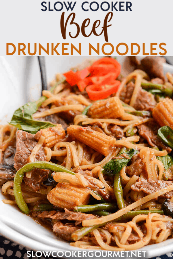 If you love Thai Noodles and just the right amount of heat but also love the idea of cooking easy dinners at home, then these Slow Cooker Beef Drunken Noodles are for you! Simple, quick and so tasty! #slowcooker #beef #drunkennoodles